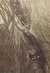 Alberich steals the gold by Arthur Rackham. (from Wikipedia)