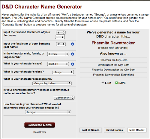 You Can Save The Names Generated As Well Link To Created Following Appears Show Criteria Used Generate Name